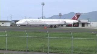 ハーレクインエアのMD-81(JA8552) 出雲空港 2002.7.17