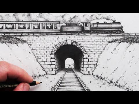 How to Draw using 1-Point Perspective: Train Track and Tunnel