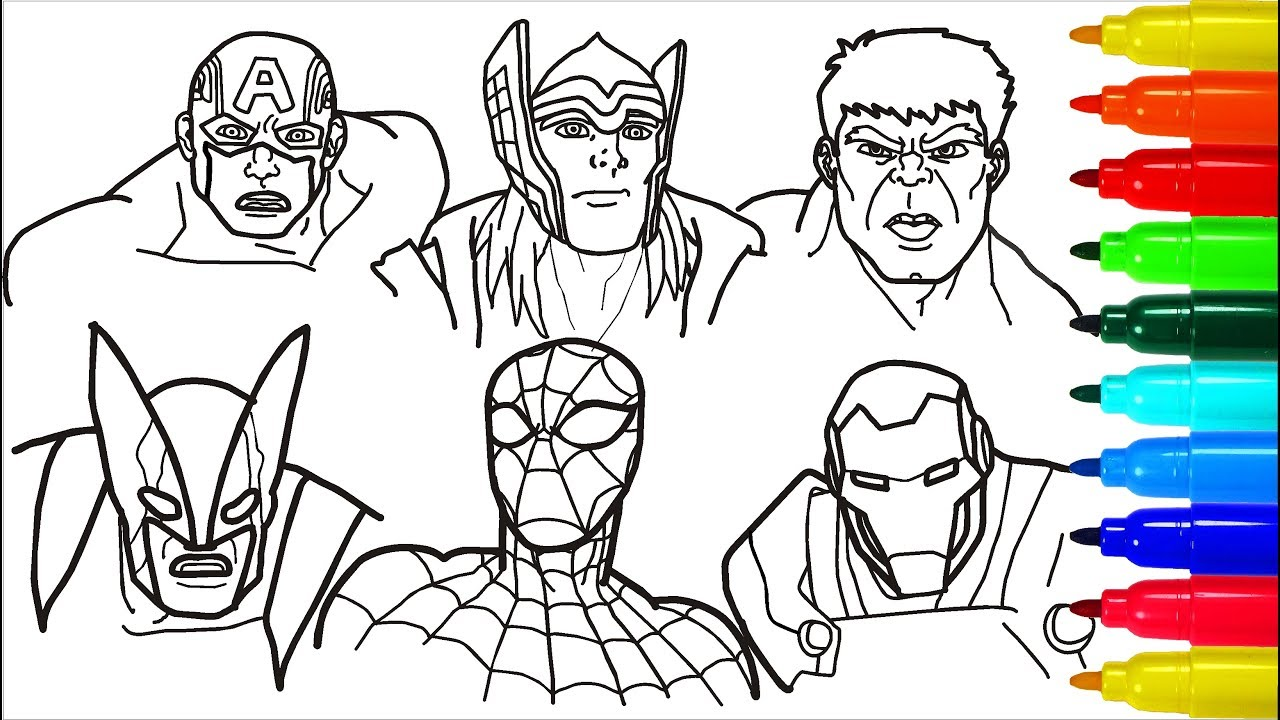 Spiderman Iron Man Hulk Wolverine Coloring Pages ...