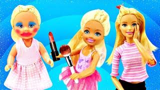 Мамина косметика - Куклы накрасились! Видео для детей с Барби