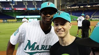Getting autographs and meeting players at Marlins Park