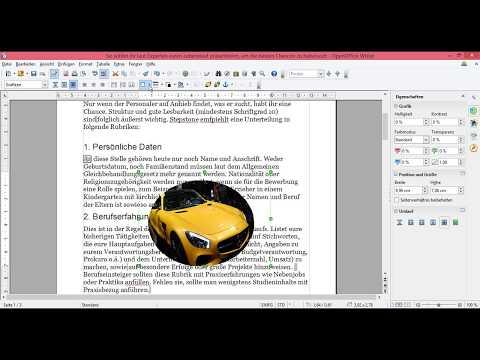 OpenOffice Bild einfügen- Bild neben Text- Bild im  Hintergrund -Bild ausrichten Bild Umlauf
