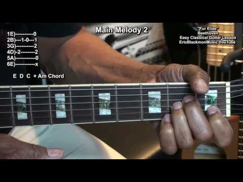 Fur Elise(Fuer Elise) Beethoven Easy Classical Guitar Lesson EricBlackmonMusicHD YouTube