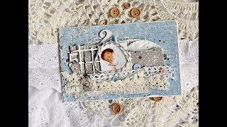 ВМК открытка для новорожденого / Tutorial Baby Boy card Maja Design