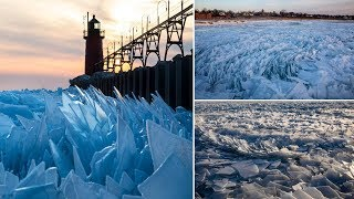 Lake Michigan Covered with a Million Pieces of Gorgeous Ice Shards