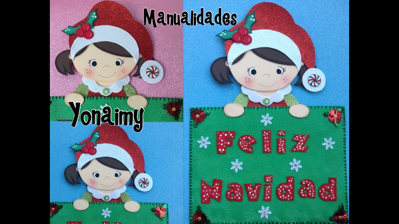 Letrero feliz navidad de foamy o goma eva youtube for Manualidades con goma eva para navidad