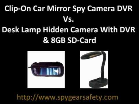 Clip On Car Mirror Spy Camera Dvr Vs Desk Lamp Hidden