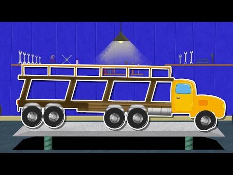 Auto Transport truck | car garage | vehicle video for kids
