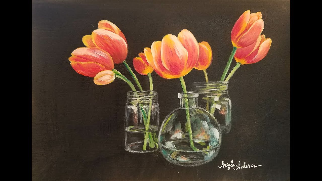 How To Paint Tulips In Glass Vases With Acrylics Step By Tutorial