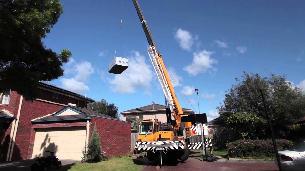 Sapphire Spas Crane Swim Spa Delivery Shot From Quad