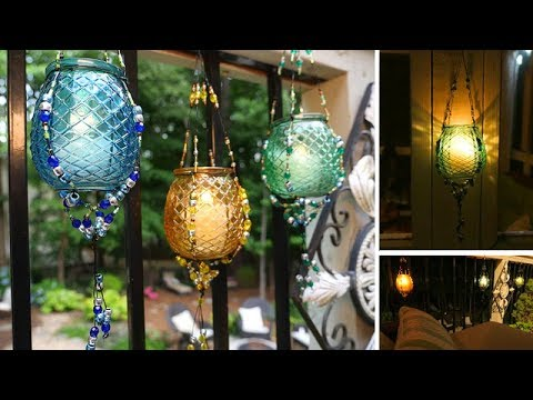 DIY Outdoor Hanging Beaded Lanterns
