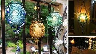 DIY Outdoor Hanging Beaded Lanterns