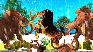Zombie Tiger Mammoth vs Woolly Mammoth Team | Epic Battle for Territory | Cartoon Cow | bull Fight
