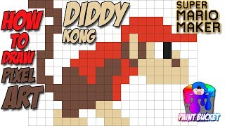 How to Draw Diddy Kong 8-Bit Pixel Art – Donkey Kong Country and Super Mario Maker Tutorial