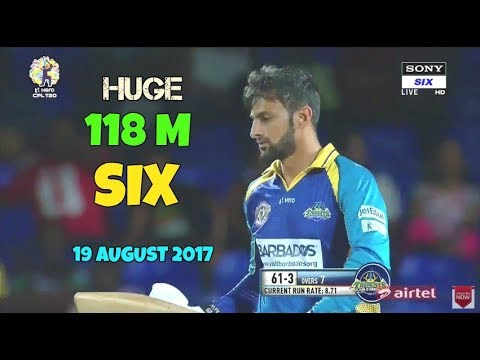 Shoaib Malik Hits Huge 118m Six -  Out Of Ground CPL 2017- August 19 vs St Kitts and Nevis Patriots