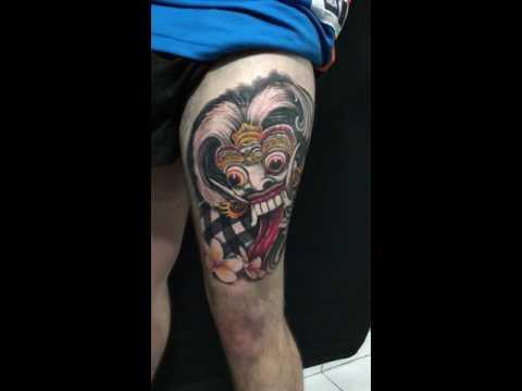 Jony tattoo bali Rangda bali mask barong tattoo colour tattoohut bali
