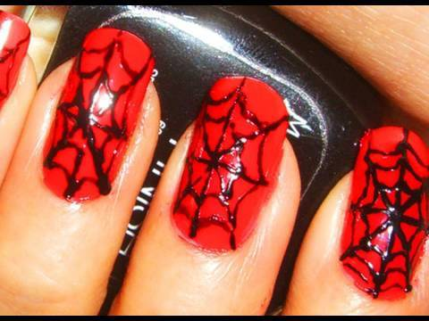 halloween nail art tutorial x spider