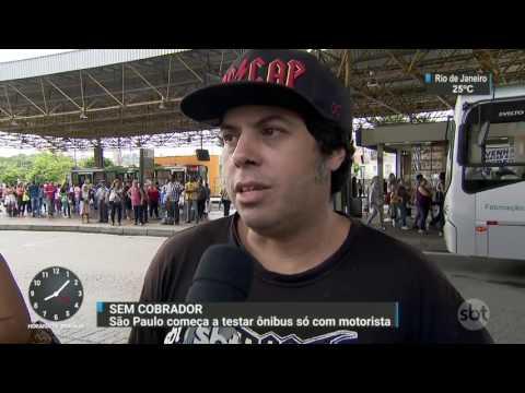 São Paulo começa a testar ônibus sem cobrador - SBT Brasil (10/04/17)