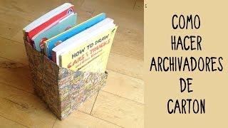 Archivadores personalizados de cartón. Ideas de reciclaje y manualidades con cartón.