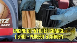 1.6 HDI Engine oil and filter change