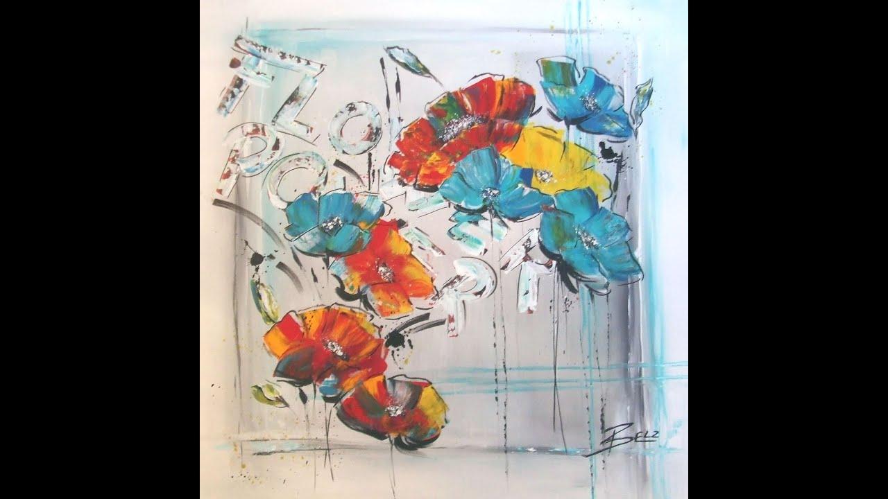 Farben Des Regenbogens Acrylbilder Blumen Motive Mohn Grau Rot