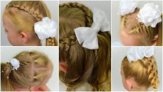 TOP 5 EASY BACK TO SCHOOL hairstyles with BOW. COMPILATION of QUICK and EASY hairstyles #1
