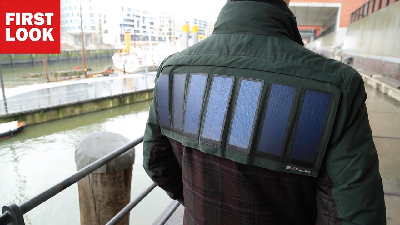 mantel an sonne tanken tommy hilfiger zeigt jacke mit solarzellen youtube. Black Bedroom Furniture Sets. Home Design Ideas