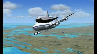 Space Shuttle on 747 take off from Cape Canaveral Air Force Station XMR FSX 720p HD