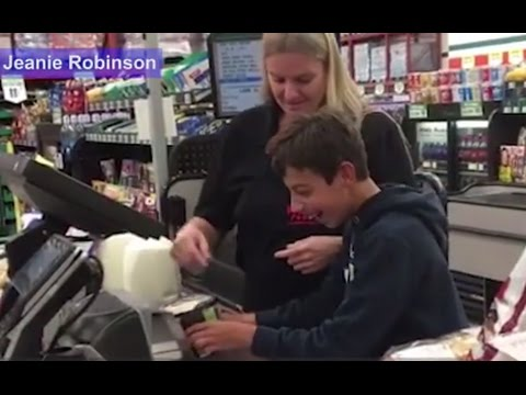 Cashier Makes Day of Boy with Cerebral Palsy