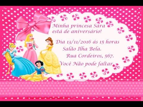 Como Fazer Convite De Aniversario Das Princesas No Word Youtube