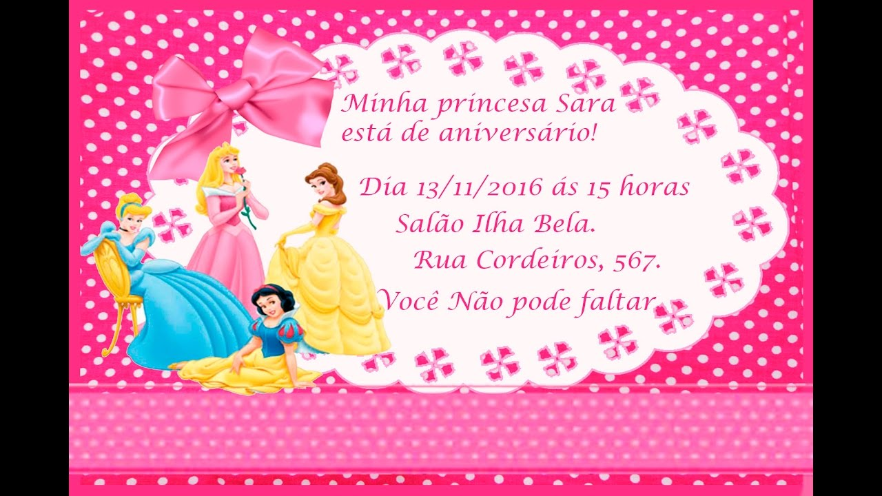 como fazer convite de anivers u00c1rio das princesas no word   ufe0f