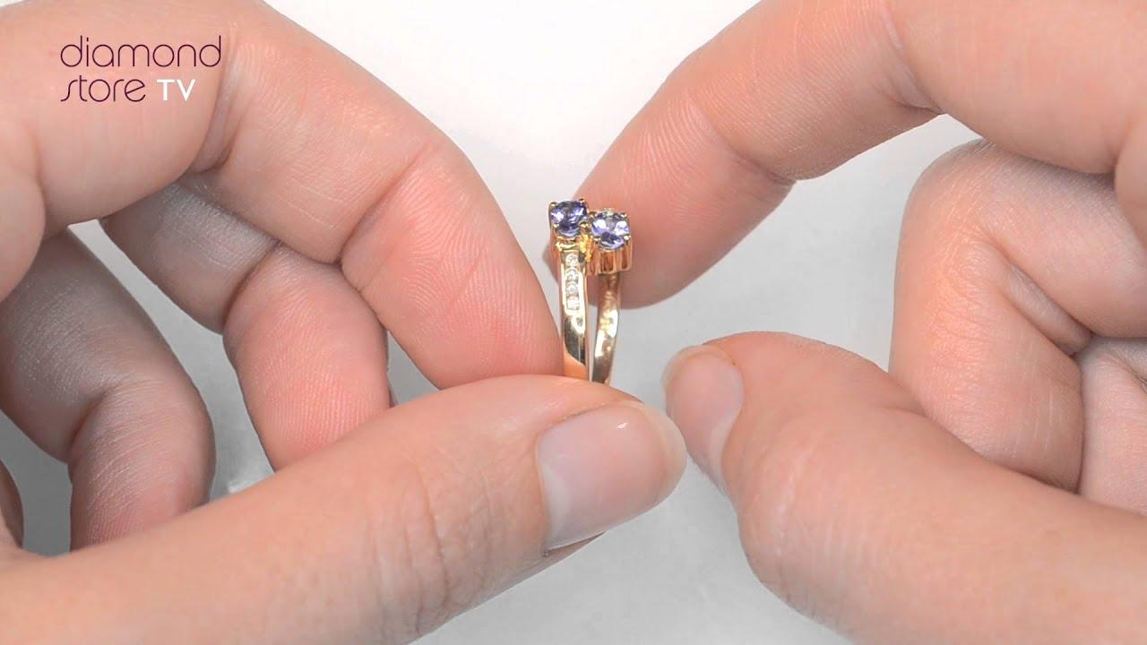 E4917 - Tanzanite 0.30CT And Diamond 9K Gold Ring - YouTube