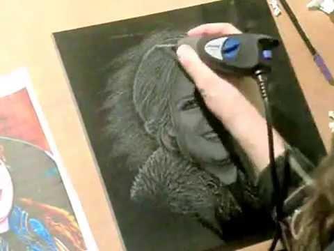 Adele Portrait Hand Engraving On Black Granite Jeg
