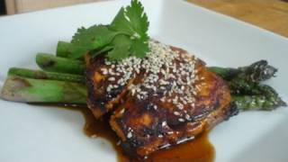 Sweet Whiskey Glazed Salmon With Grilled Asparagus