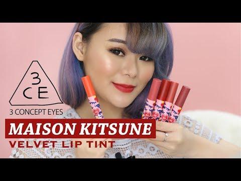 3CE X MAISON KITSUNE VELVET LIP TINT ALL COLOUR REVIEW | INDONESIA | JEAN MILKA
