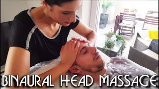 💆 Face and Head Massage - BINAURAL recording - ASMR no Talking