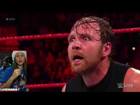 WWE Raw 12/11/17 Dean Ambrose vs Samoa Joe