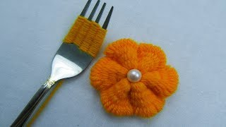 Hand Embroidery, Wool Flower Embroidery Trick with Fork, Easy Trick, Sewing Hack,Crafts & Embroidery