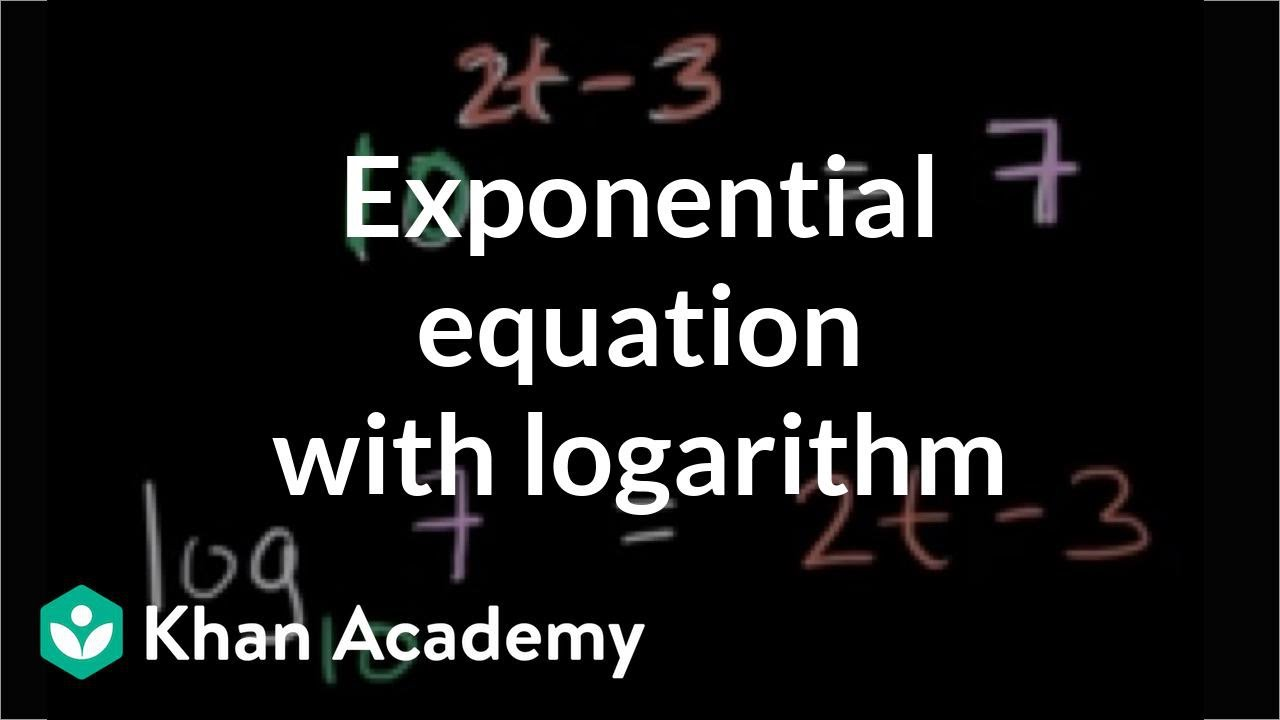 Solving Exponential Equation With Logarithm Logarithms Algebra