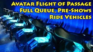 Avatar Flight of Passage FULL Queue, Pre-Shows, Ride Vehicles, Pandora -The World of Avatar