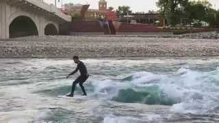 Surfing at Bow River, Calgary, AB Canada