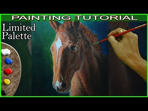 Acrylic Portrait Painting Tutorial of a Brown Horse in Step by Step by JM Lisondra