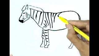 How to draw  a zebra  in easy steps, step by step for children, kids, beginners