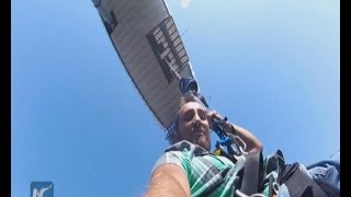 RAW: Wheel-chaired Russian man enjoys 69m bungee jump
