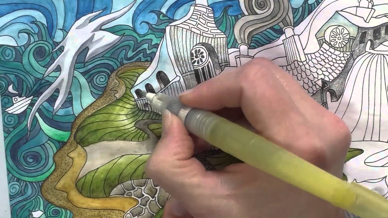 Speed Colouring Coverack From The Magical City Derwent Inktense Pencils