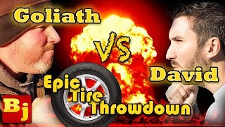 Epic Tire Throw Down Challenge Battle!!!!