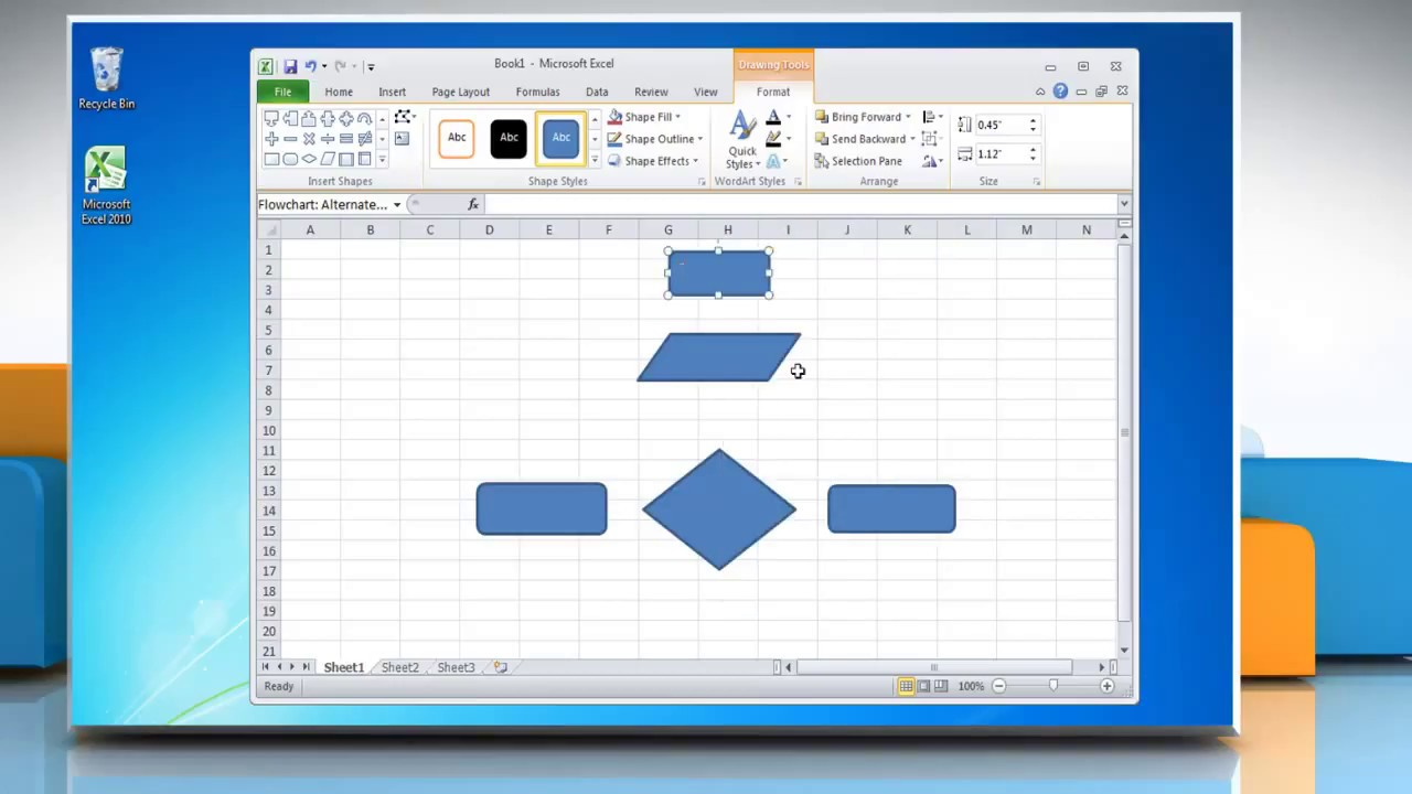 How to make a flow chart in excel 2010 youtube ccuart Images