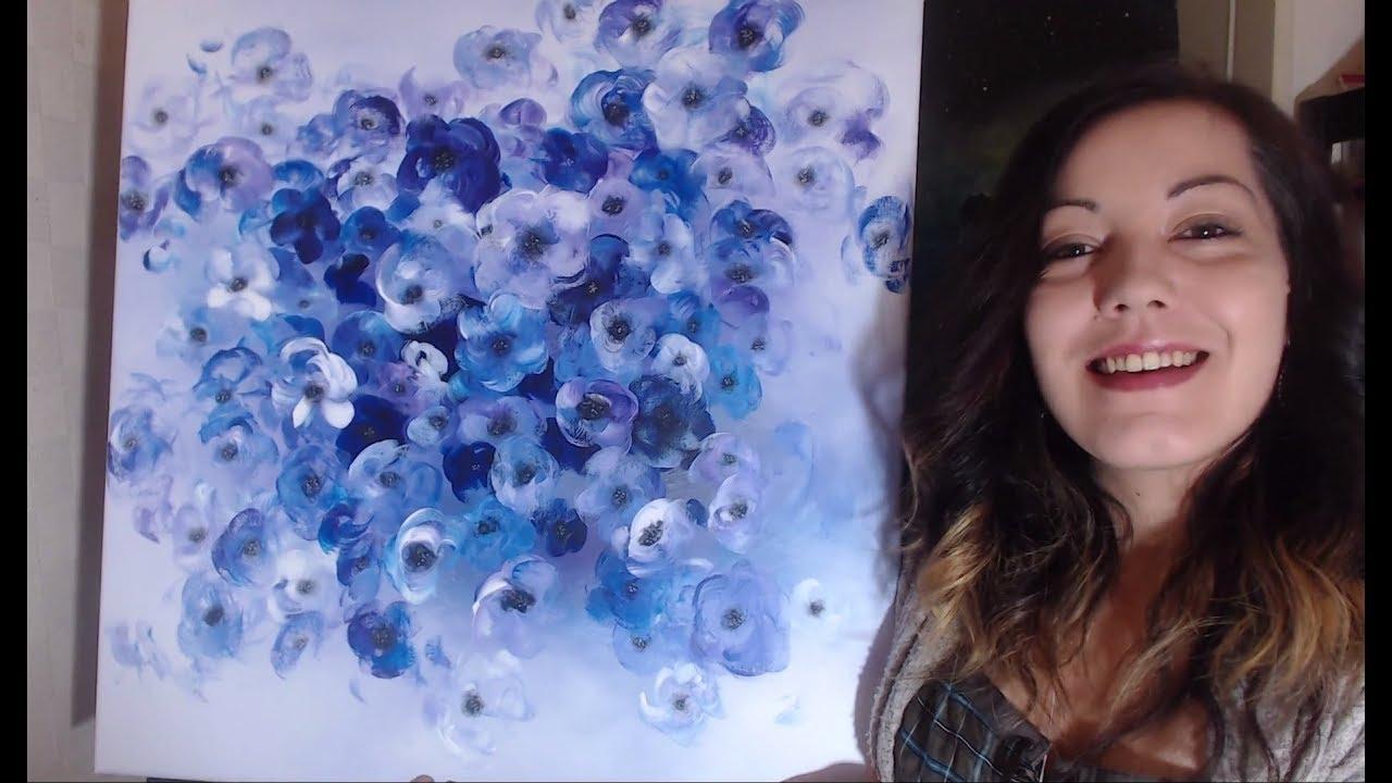 Bouquet de Fleurs Monochrome - Peinture Acrylique Facile - YouTube