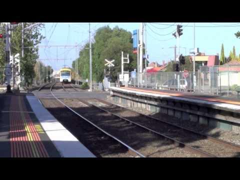 Trains coming into Moonee Ponds Melboune Victoria Austalia  Craigieburn Line