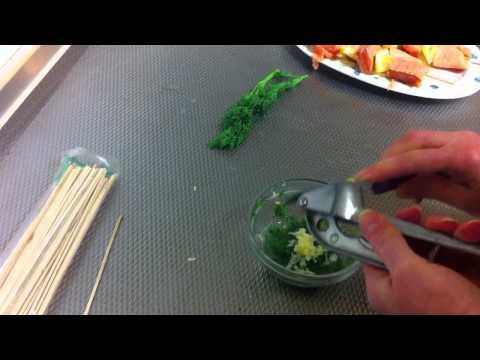 Grilled Garlic-Dill Salmon Kebabs / Fish Kebab with Garlic